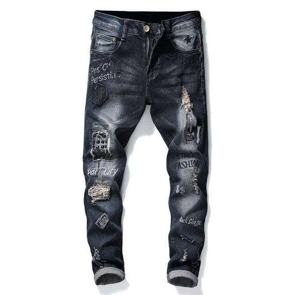 Mens rivetto patch robin jeans buco strappato stretch denim pantaloni lettera modello ricamo skinny hip hop rock pantaloni per uomo 29-38