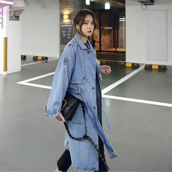 2019 New Spring Autumn Women Korean Casual Loose X-Long Denim Trench Coat With Belt Female Fashion Denim Windbreaker Coat R189