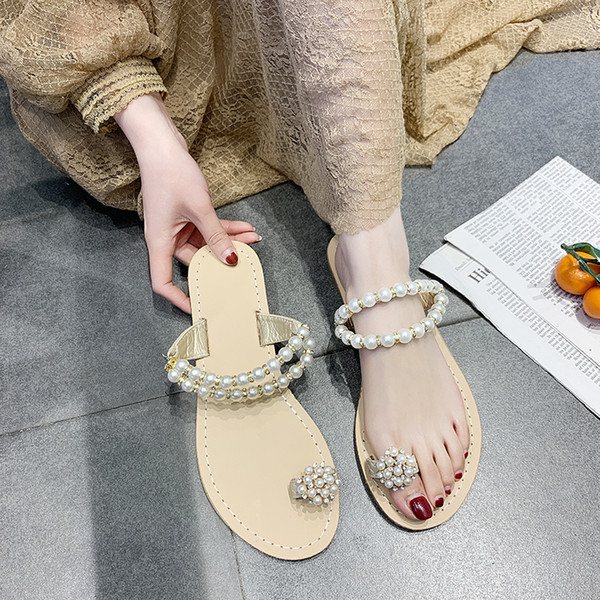SAILING LU Summer Gladiator Women New Flat Sandals Ankle Strap String Bead Novel Flip Flops Ladies Casual Party Shoes XWZ5814