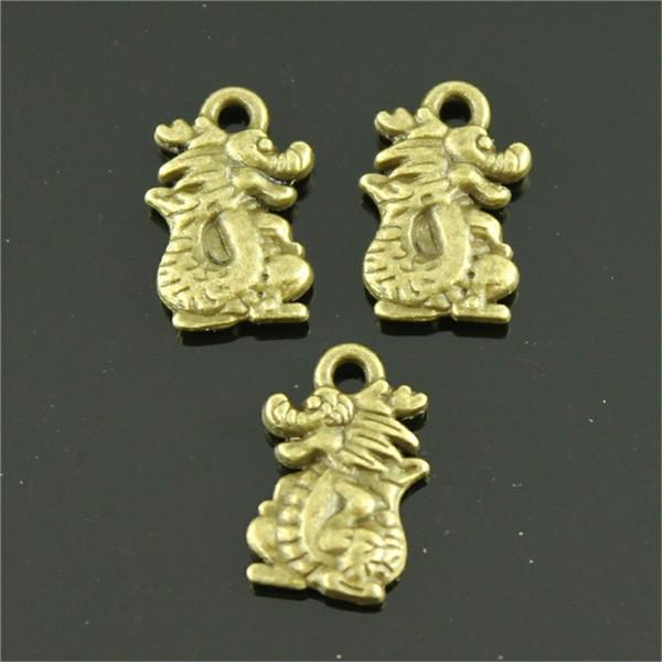 150 шт. Очарование дракона старинные китайские подвески дракон подвеска для изготовления ювелирных изделий античный бронзовый цвет подвески дракона 10x15 мм