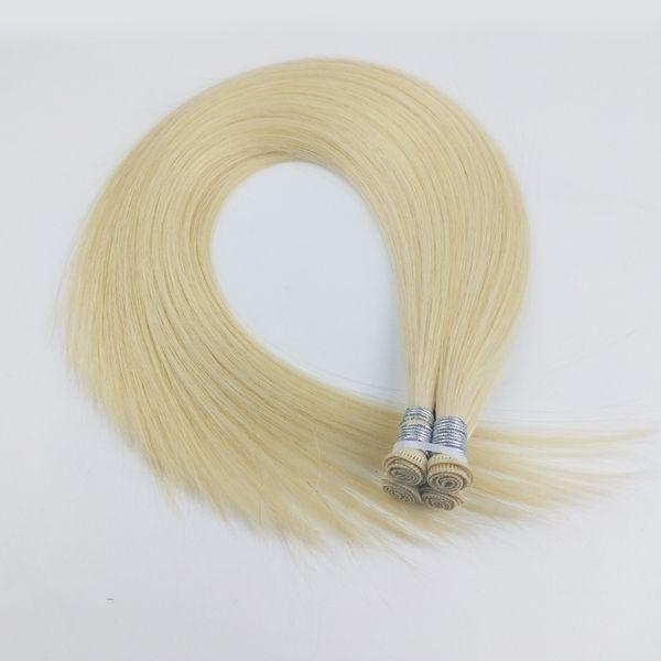 Mão amarrada cabelo trama de seda reta cabelo extensões feitas à mão cabelo humano tece loira cor 60gram