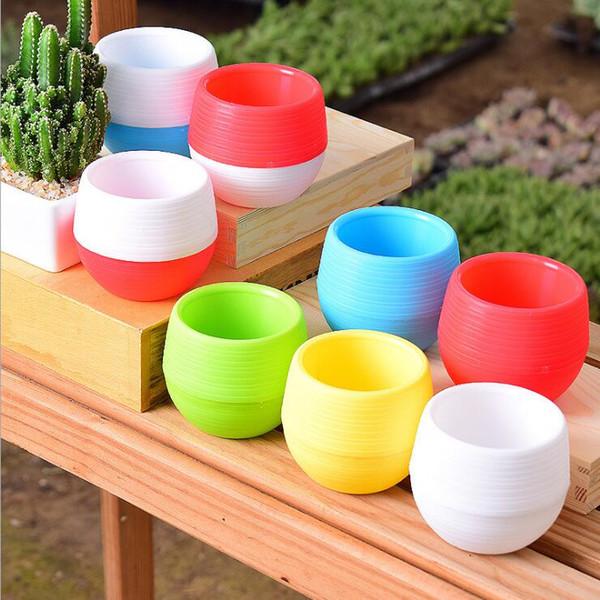 Mini pots de fleurs 6 couleurs rondes en plastique planteurs fuite d'eau trou Design pot de fleurs plantes succulentes jardin Bonsaï Pot Home Decor 7 * 7cm 288
