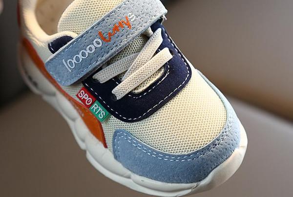 Новая осень 2019 сетки кроссовки для детей: нескользящая мягкая подошва обуви для детей ясельного возраста Y19051504