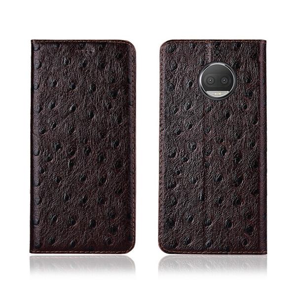 Caja del teléfono de la textura de avestruz para Motorola Moto G5S Plus Funda de cuero genuino de la tarjeta del tirón del cuero del zurriago para el caso de Motorola Moto G5S Plus