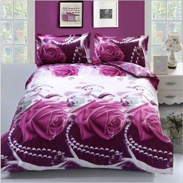 3D Rose Flowers Bedding Sets High Quality Soft Duvet Cover Pillowcase Set Reactive Printed Twin Queen Bed Home Textiles