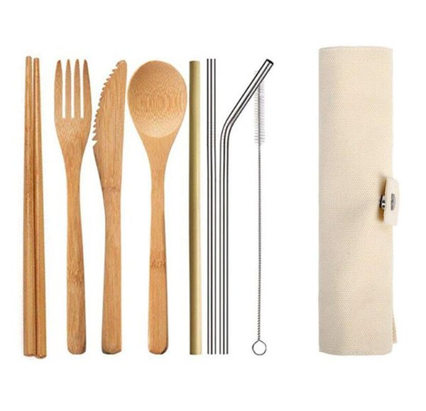 Uk Top Seller Buy One Get One Free Knife Spoon Fork Bamboo Cutlery Set Reusable With Carry Case