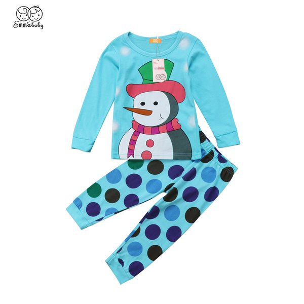 Christmas Toddler Kids Baby Girl Snowman Tops Dress Dot Pants Legging Outfit Set