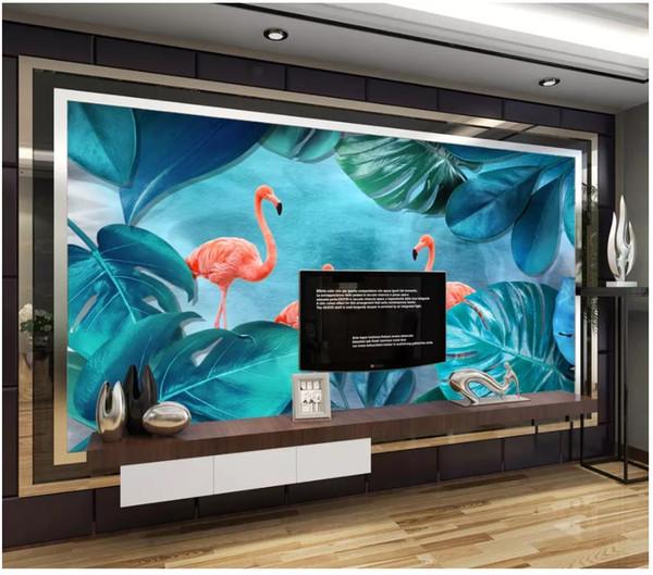 3d wall paper custom photo Silk wallpaper mural Nordic flamingo green plant living room TV sofa background wall home decor papel de parede