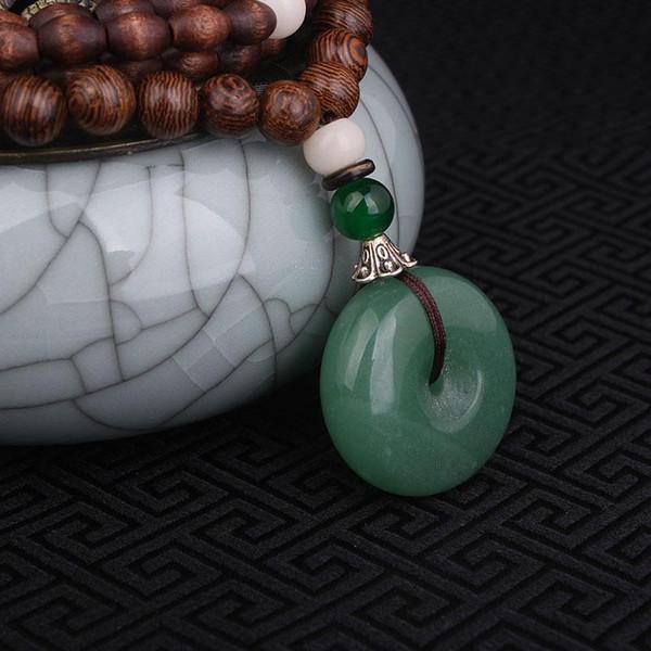 Colar de jóias Evade Paz Aventurine Quartz colar verde, Nepal jóias artesanais de sândalo longo colar de pingentes do vintage