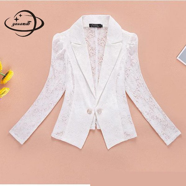 YAUAMDB women blazer spring autumn XS-3XL female blazer solid pocket single breasted ladies lace slim jacket short coat ly51