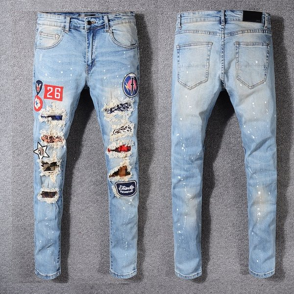 20s New Französisch Stil Mode für Männer Jeans-Qualitäts-blauer Farbe dünner Sitz Spliced zerrissenen Jeans-High Street zerstört Biker Denim Jeans 056