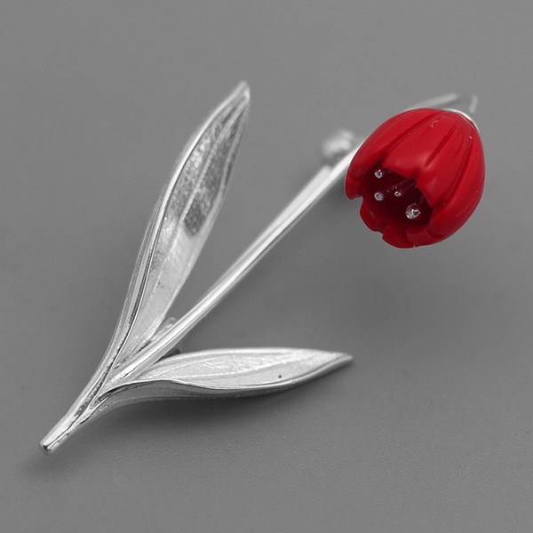 INATURE 925 Sterling Silver Red Coral Lily Of The Valley Flower Brooches for Women Wedding Party Jewelry