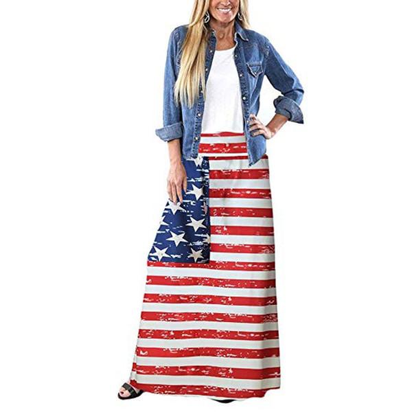 Gonne delle donne Gonne faldas jupe femme shein saia harajuku falda Strisce di estate della Boemia bandiera americana stampato lungo Maxi # 50