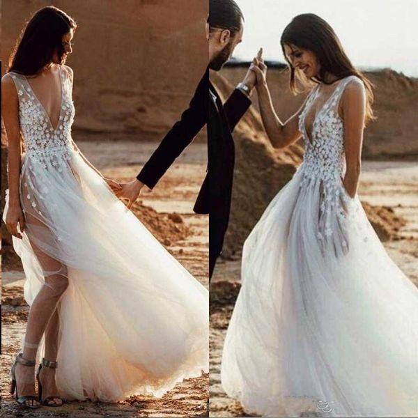 Romantic Beach Bohemian Wedding Dresses 2019 Cheap Sleevesless Deep V Neck Layered Train Zipper Back Bridal Gowns