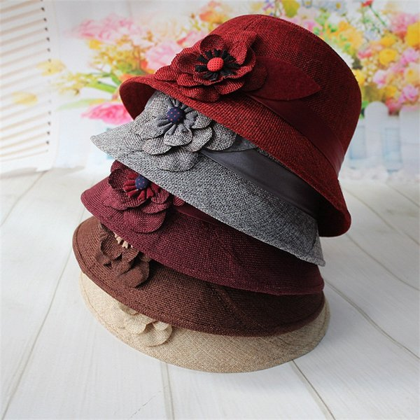 Middle Aged And Old Ladies Top Hat Flax Stingy Brim Hats Sunshade Basin Cap Fashion Flower Spring Autumn 6 5jog1