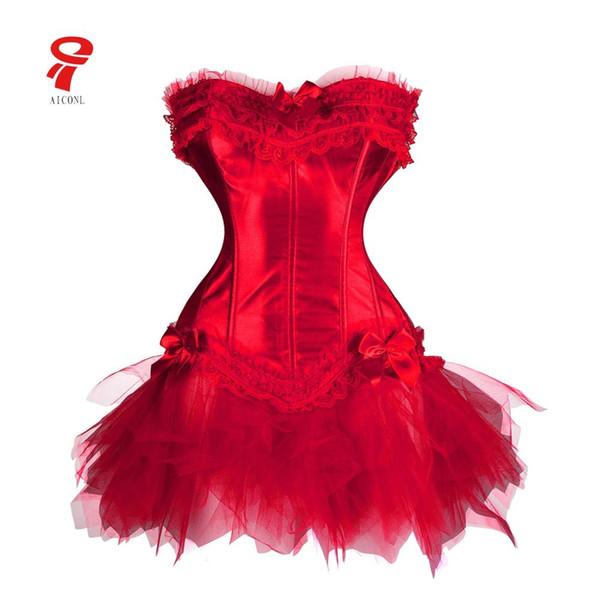 Corset bustier Women steampunk tummy shaper plus size gothic lace Slimming waist tutu dress overbust steel boned corset skirt