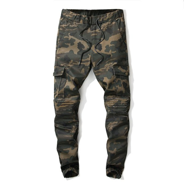 Camouflage Green Slim Harem Jeans Men Clothing Fit Straight Biker Ripper Zipper Full length Men's Pants Casual Pants size 28 30 32 34 36 3