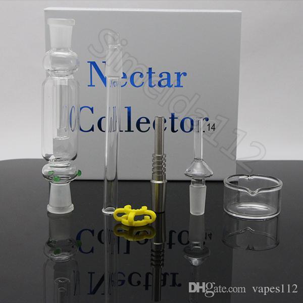 Nector kit presente coletor pacote de 10 milímetros 14 milímetros 19 milímetros nector coletor com Gr2 óleo de titânio prego domeless quartzo unhas água plataformas de vidro bong Livre S