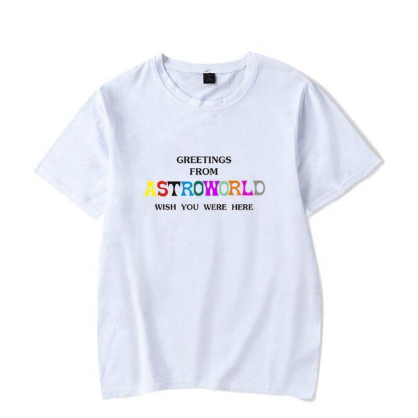 Verão Dos Homens Tshirt Sportswear Travis Scotts ASTROWORLD Branco Tripulação Pescoço Tshirt Letras Imprimir Hip Pop Rapper Tee