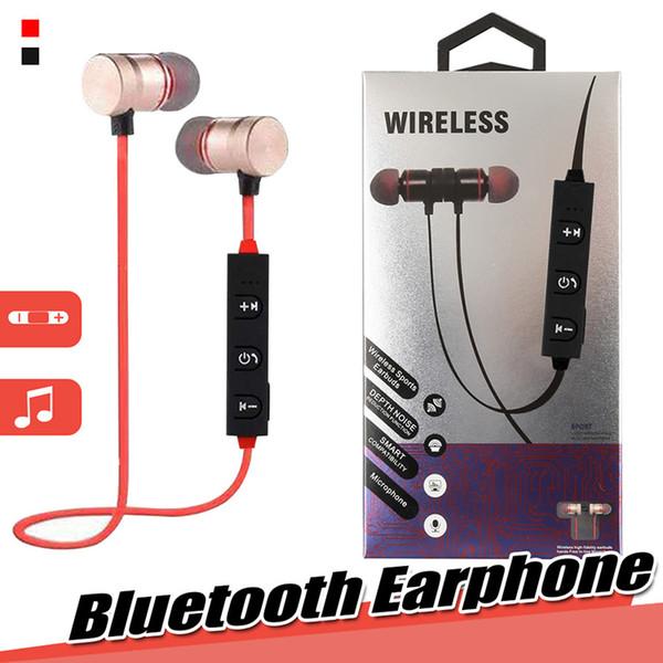 Auricolari Bluetooth Cuffie wireless con microfono Chiamate Auricolari musicali Cuffie sportive magnetiche stereo per Iphone Samsung con pacchetto