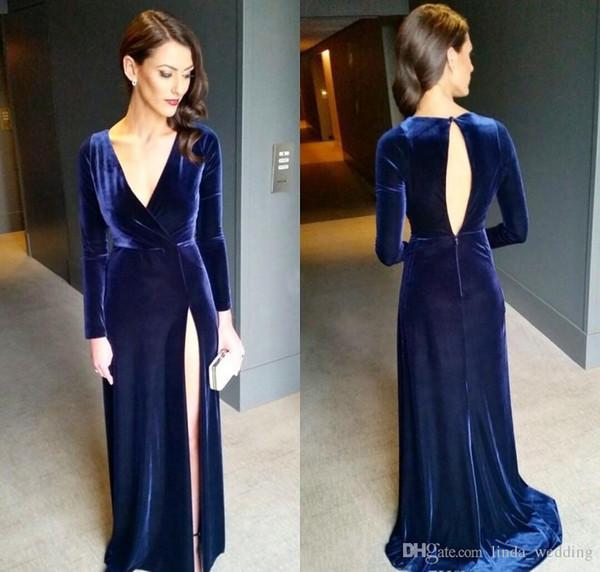 2018 V-Neck Navy Blue Long Sleeves Evening Dress Velvet Side Split Formal Holiday Wear Prom Party Gown Custom Made Plus Size