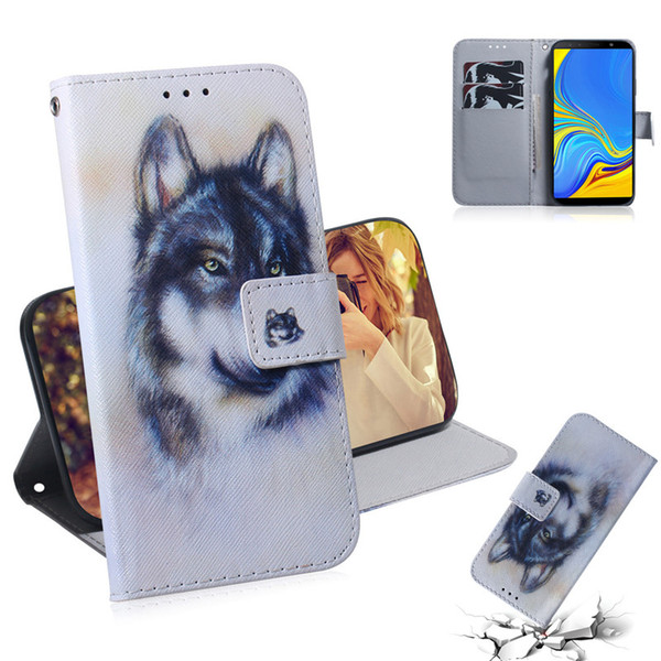 Wallet Case For Samsung Galaxy A7 2018 Filp Cover Hot selling Coloured pattern Wolf tiger lion Owl Dog With Card Slot Design