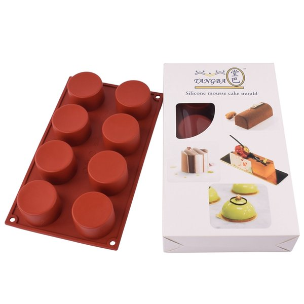 8 Holes Round Silicone Cake Mold 3D Handmade Cupcake Jelly Cookie Mini Muffin Soap Maker DIY Baking Tools lin5137