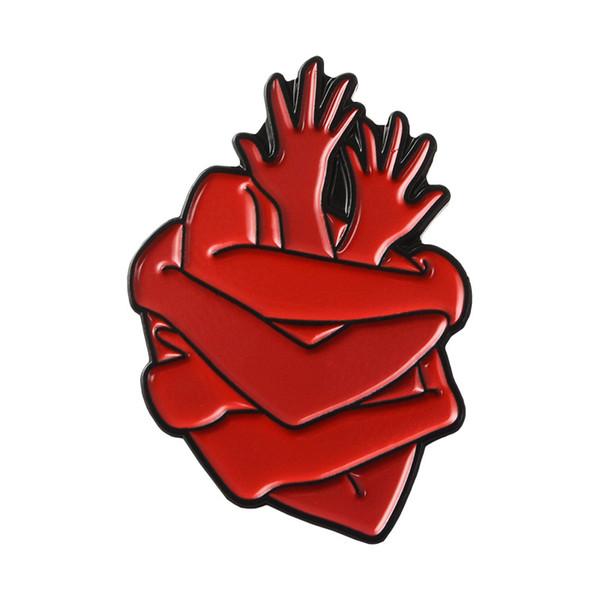 Creative Arms Around Shape Red Heart Brooch Cartoon Metal Badges Hard Enamel Pin Cloth Denim Coat Hat Accessory Fashion Jewelry Gift