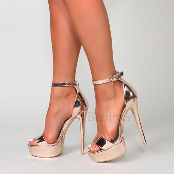 Шампанское женщин платформы сандалии открытым носком каблуки лодыжки ремень Sandalias Zapato Насосы обувь Женщины Chaussure Большой размер 34 52