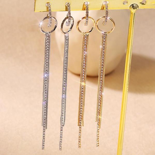 Pendientes largos de moda Joker temperamento circón borla pendientes S925 aguja de plata pura