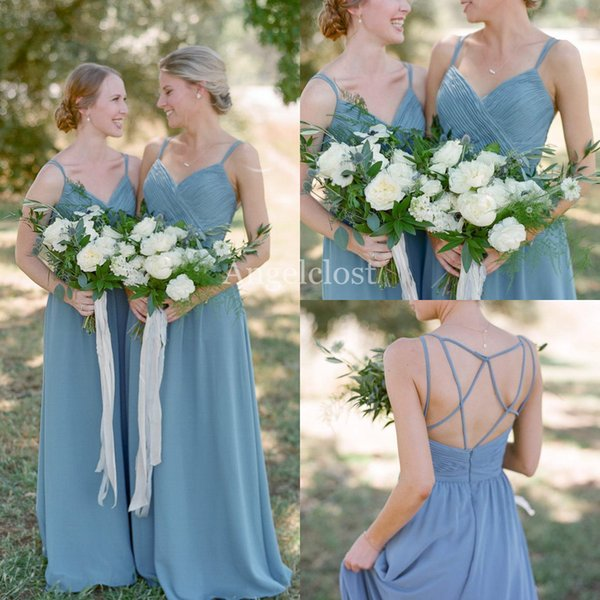 Uzun Şifon Nedime Elbiseler 2019 Spagetti Kayışı Backless Pleats Sweep Tren Hizmetçi Onur Törenlerinde Ülke Düğün Konuk Elbiseleri Özel