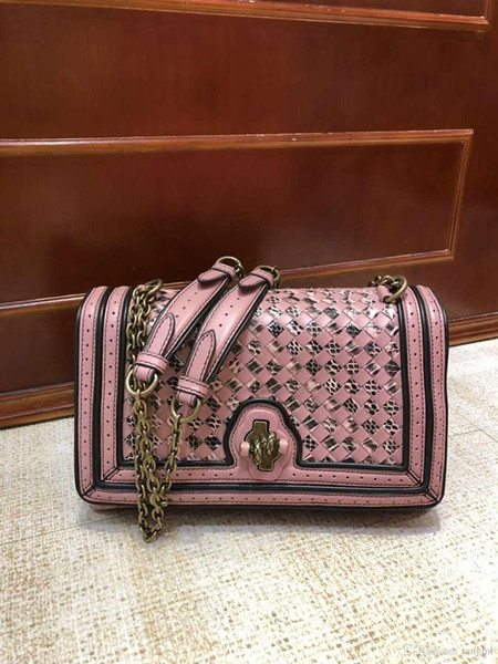 women serpentine handmade material crochet handbag genuine snake material leather sheep skin leather handbag fashion kintting chain bag 27cm