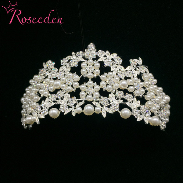 Korean Style Women Simulated-pearl Crown Female Rhinestone Beautiful Little Pearl Tiara Bridal Hair Wedding Accessories RE157 C18112001
