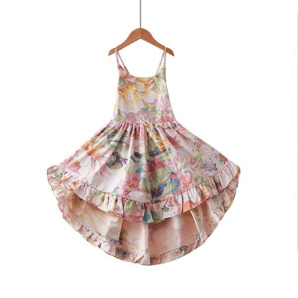 Everweekend Sweet Kids Girls Backless Halter Dress Summer Floral Flamingo Print Western New Fashion Beach Wear Dress