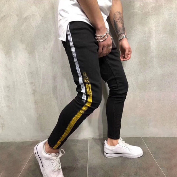 top popular New Mens Jeans Mens Stylist Skinny Ripped Yellow Red Stripes Pants Mens Stretch Slim Biker Jeans Casual Hip Hop Trousers 2021