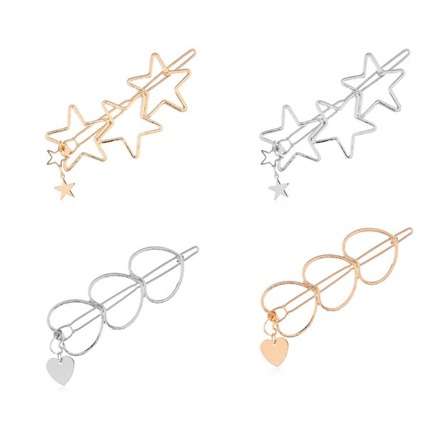Fashion Women Girls Hairpins Girls Hollow Star Heart Hair Clip Delicate Hair Pin Hair Decorations Jewelry Accessories Lot 12Pcs