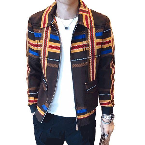 Hommes Designer Club Veste de Cultiver Sa Moralité Homme Plaid Blazer Masculino Zipper Casual Hommes Blazer Veste Taille M-3XL