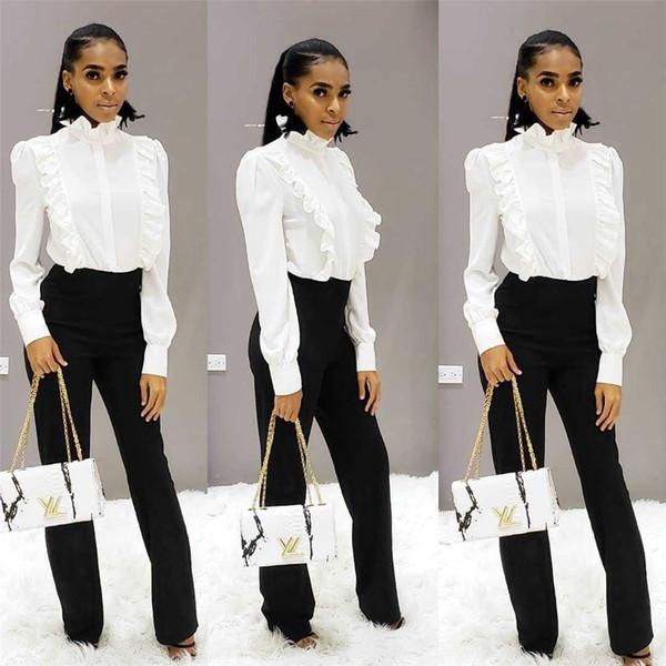 Camicia donna Ruffle Plain Blouse manica lunga Slim Fit collo alto Flounce Jabot NB-1352