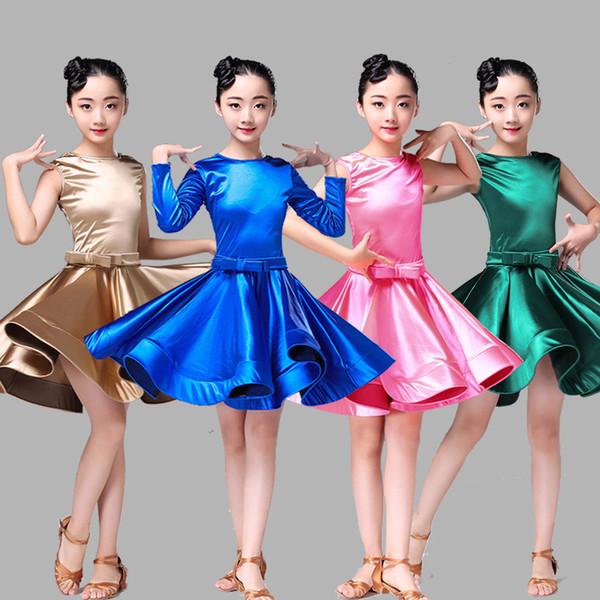 Latin Dance Dress Girls Practice Vêtements de danse Concours Latin Robes Enfants Dress 2 manches Style DQL1016