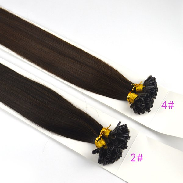 Pre Bonded Keratin Nai/Ul Tip Remy Human Hair Extension Hair Medium Brown and dark brown 1g Per Strand 100g/pack