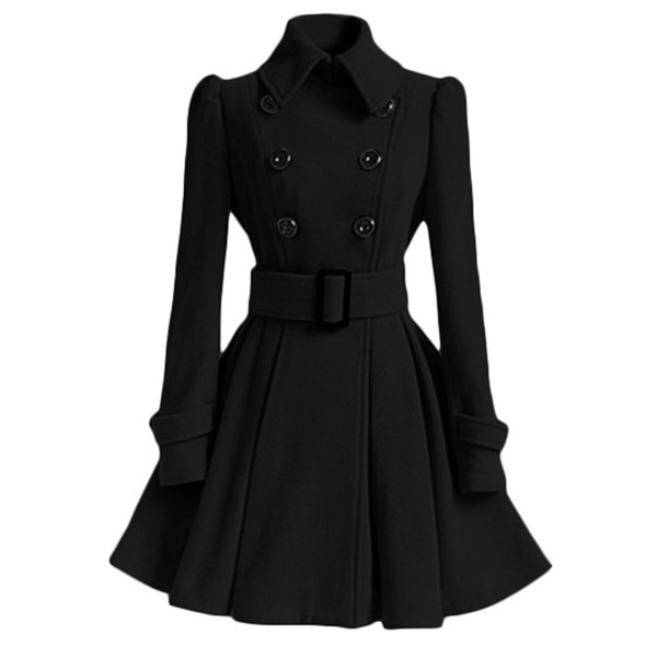 2019 Herbst Winter Frauen Mantel Schlank A-Line Solide Schärpe Zweireiher Revers Hals Mid-Long Fashion Warme Trenchcoat Outwears