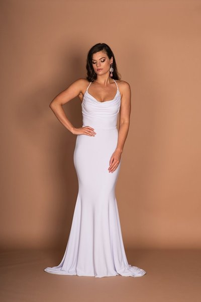 White Long Prom Dresses Cheap Mermaid Halter Neck Backless Formal Evening Gowns Women Sexy Cocktail Party Dress Gown