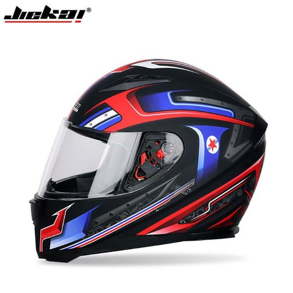 top popular JIEKAI Motorcycle Helmet Universal Full Face Helmet Windproof Dual Lens Anti-Fog Sun Protection Men Moto Electric 2021
