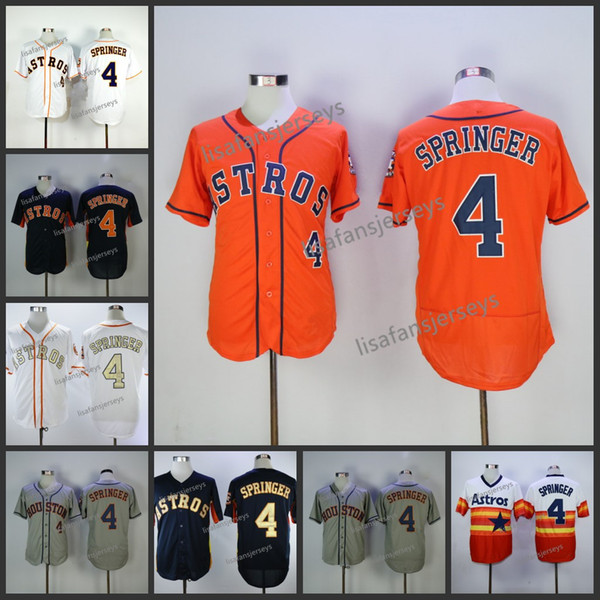 mens 4 george springer baseball jerseys home away road embroidered navy blue white gold grey orange stitched baseball jersey, Blue;black