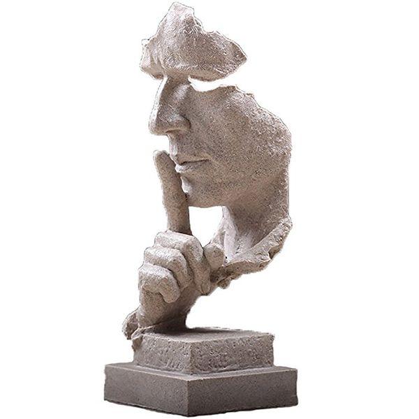Estatuas creativa de la cara y manos esculturas para la decoración del hogar, La estatua del pensador Hombre Silencioso Figura, mano de obra fina amigable eco Resina Artesanía