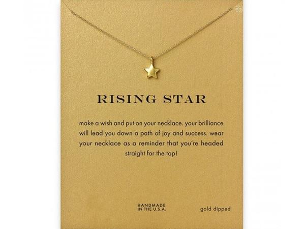 Rising Star Colar Dogeared (Rising Star) Noble e 18K jóias delicadas Colar do encanto ouro colar de pingente bom presente para Mulheres Meninas