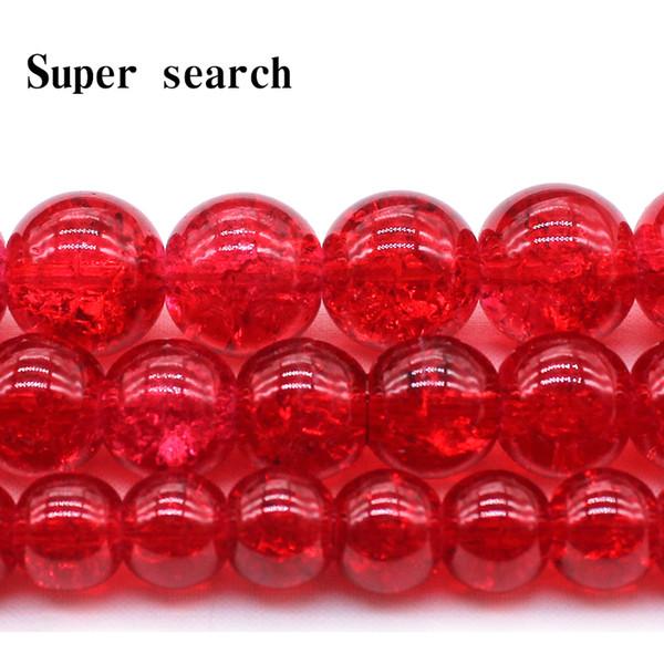 8 10 12mm Colore rotonda Crackle branelli di vetro di cristallo allentati del distanziatore per monili che fanno del braccialetto della collana fai da te
