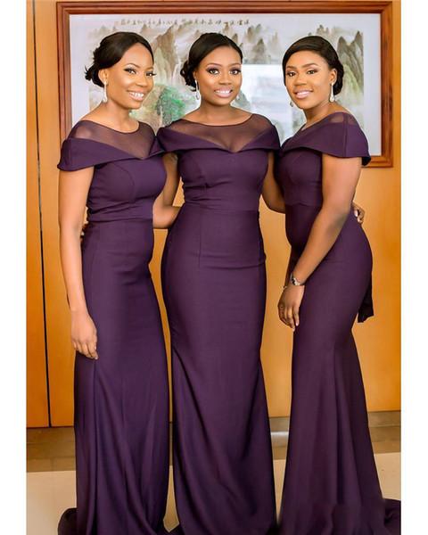 South African Dark Purple Bridesmaids Dresses Summer Boho Garden Wedding  Guest Gowns Maid Of Honor Plus Size Dress Cheap BM0629 Bridesmaid Dresses  ...