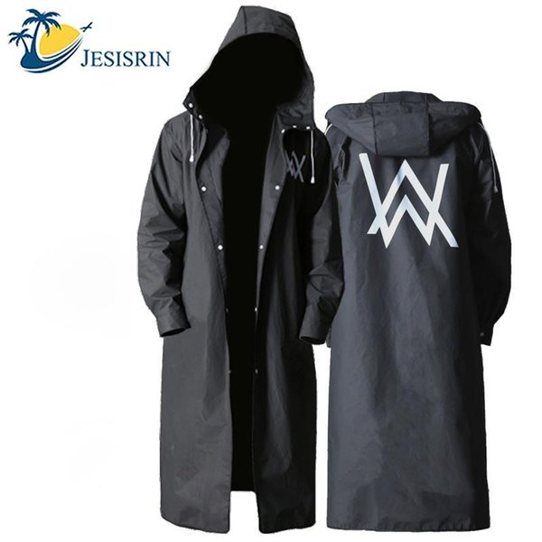 top popular Travel Portable Backpack Raincoat Long Section Tide Waterproof Trench Coat Hooded Raincoat 2019