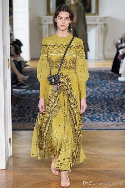 Free shipping Milan Runway Dress 2019 New Yellow Lantern Sleeve Landscape Print Irregular Designer Dress Brand Same Style Dress 182